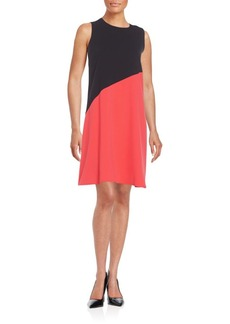 Calvin Klein Asymmetrical Seamed Two-Tone Shift Dress
