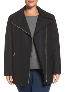 Calvin Klein Asymmetrical Wool Blend Coat (Plus Size)