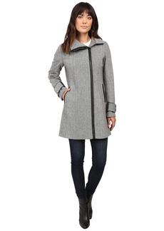 Calvin Klein Asymmetrical Zip Twill Wool Coat w/ PU Trim