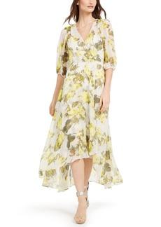 Calvin Klein Balloon-Sleeve Surplice Maxi Dress