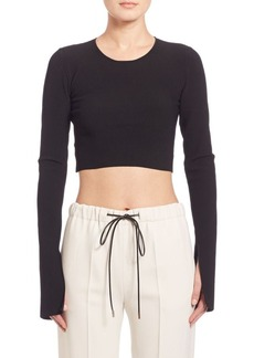 Calvin Klein Bao Long-Sleeve Ribbed Knit Crop Top