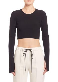 Calvin Klein Bao Long-Sleeve Ribbed Knit Crop Top