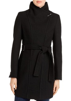 Calvin Klein Basket-Weave Faux Wrap Coat
