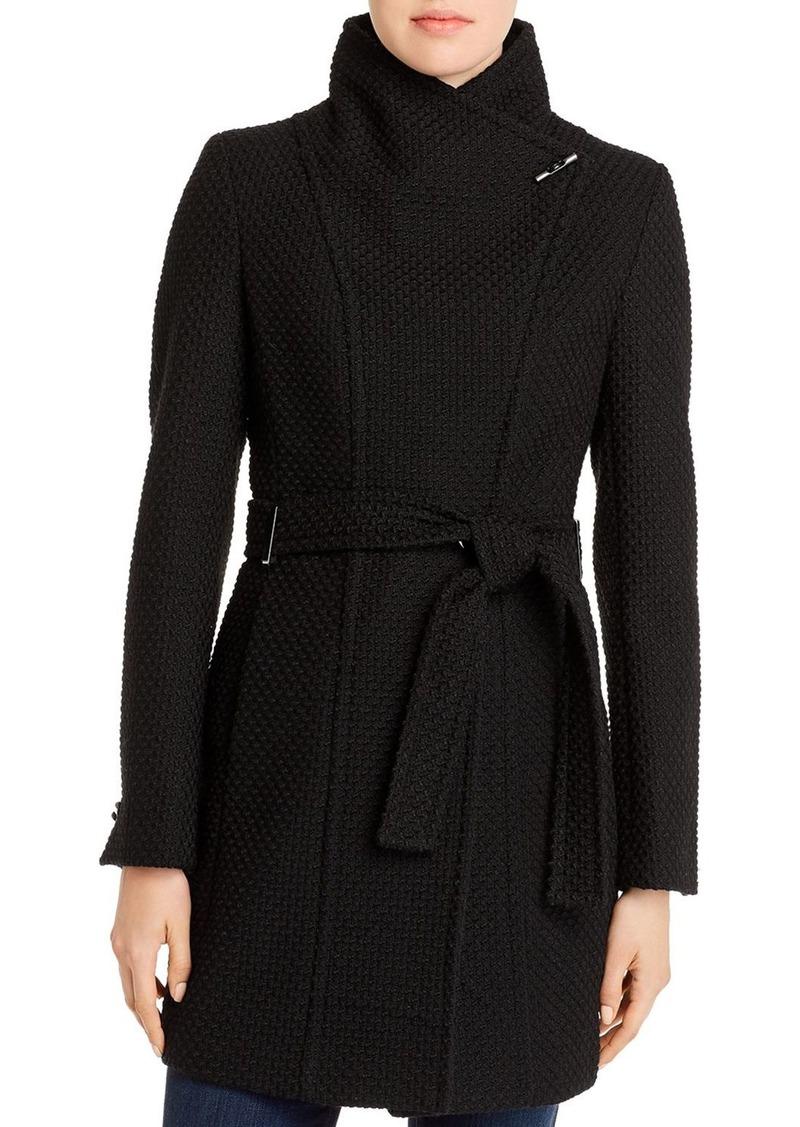 Calvin Klein Basket-Weave Faux Wrap Coat