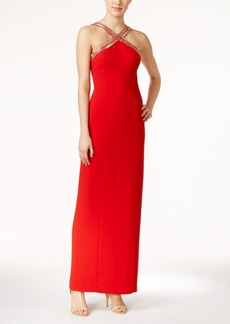 Calvin Klein Beaded X-Front Crepe Gown