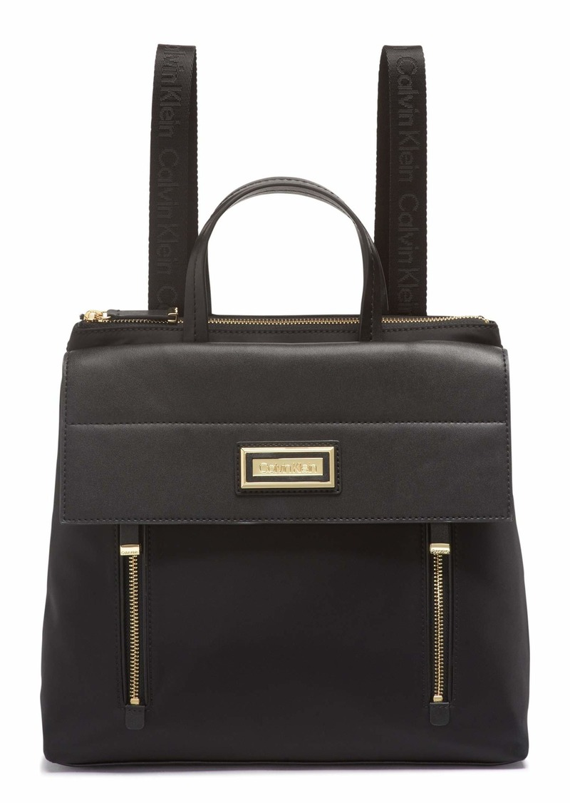 Calvin Klein Belfast Nylon Flap Backpack BLACK/GOLD