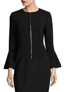 Calvin Klein Bell Sleeve Crepe Zip Jacket