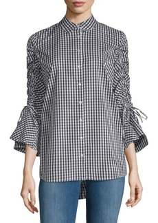 Bell-Sleeve Gingham Blouse