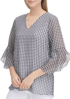 Calvin Klein Bell-Sleeve Gingham Top