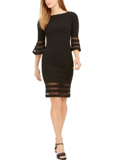 Calvin Klein Bell-Sleeve Illusion-Stripe Dress