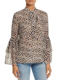 Calvin Klein Bell Sleeve Leopard Print Top