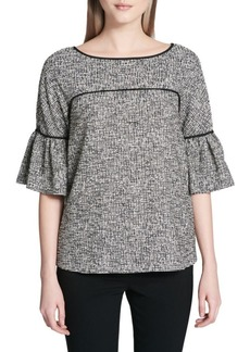 Calvin Klein Bell-Sleeve Piped Tweed Top