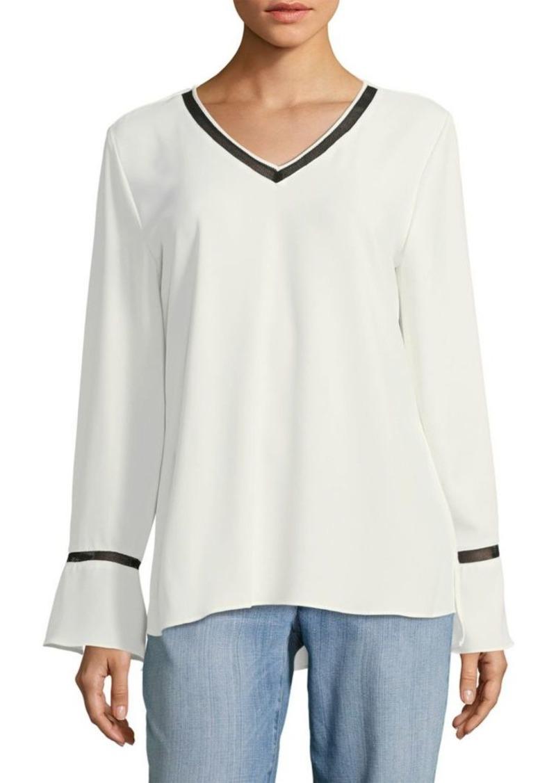 Calvin Klein Bell-Sleeve Ringer Blouse