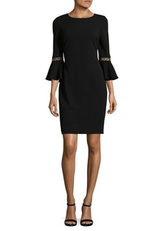 Bell-Sleeve Sheath Dress