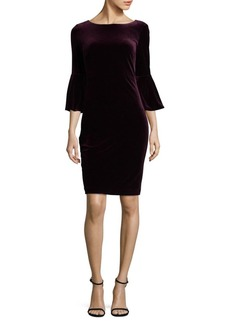 Bell-Sleeve Velvet Sheath Dress