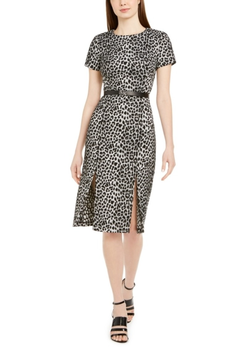 Calvin Klein Belted Animal-Print Slit Dress