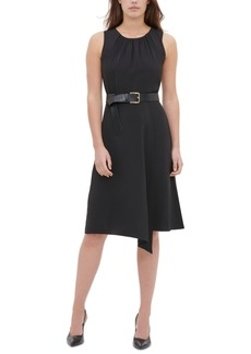 Calvin Klein Belted Asymmetrical-Hem Dress
