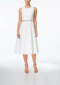 Calvin Klein Belted Burnout Fit & Flare Midi Dress