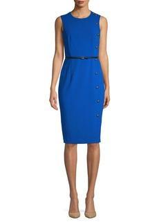 Calvin Klein Belted Button-Trim Sheath Dress