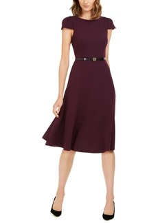 Calvin Klein Belted Cap-Sleeve Fit & Flare Dress