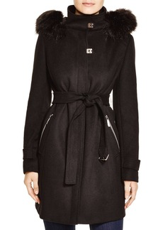 Calvin Klein Belted Coat with Faux-Fur Trim