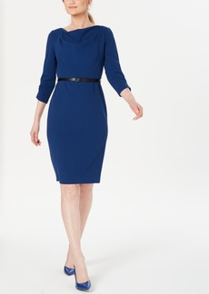 Calvin Klein Belted Cowlneck Sheath Dress