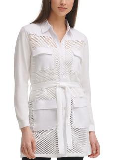 Calvin Klein Belted Crochet Jacket
