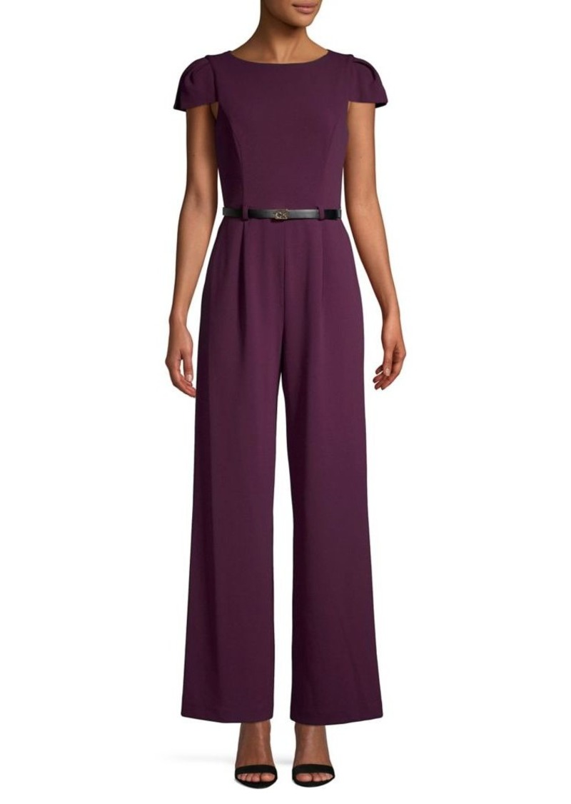 Calvin Klein Belted Cutout Cap-Sleeve Jumpsuit