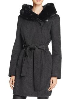 Calvin Klein Belted Faux Fur Trim Coat