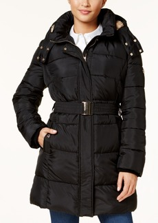 Calvin Klein Belted Faux-Fur-Trimmed Puffer Coat
