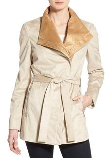 Calvin Klein Belted Faux Suede Asymmetrical Zip Coat