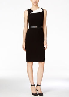 Calvin Klein Belted Foldover Sheath Dress