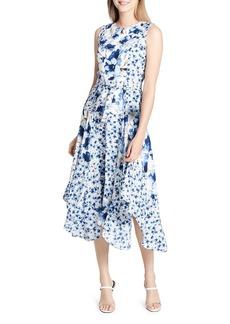Calvin Klein Belted Handkerchief-Hem Dress