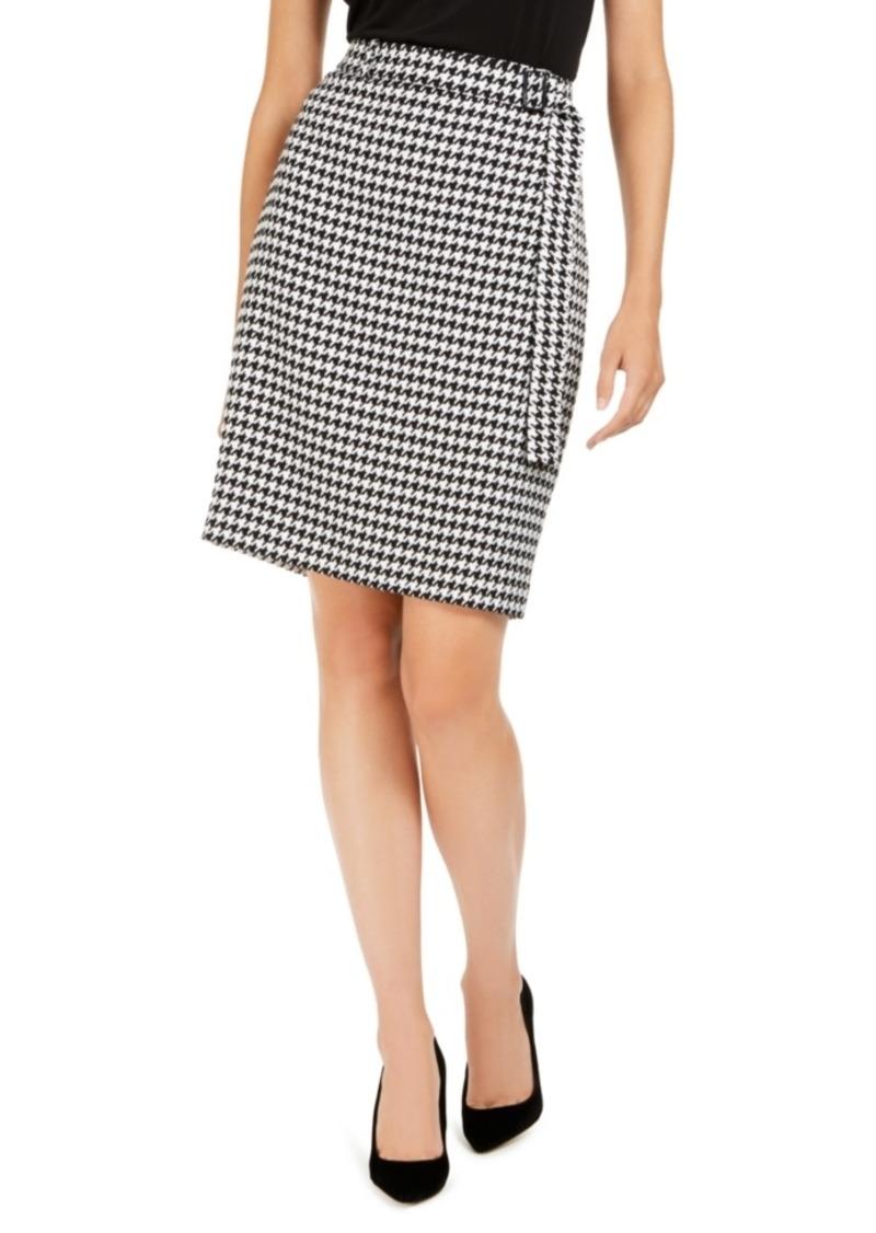 Calvin Klein Belted Houndstooth Pencil Skirt