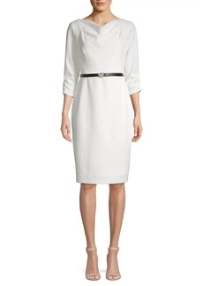 Calvin Klein Belted Knee-Length Sheath Dress