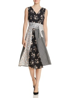 Calvin Klein Belted Mixed-Print Dress