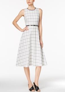 Calvin Klein Belted Plaid A-Line Midi Dress