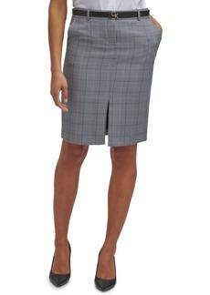 Calvin Klein Belted Plaid Pencil Skirt