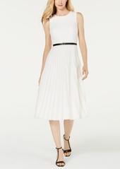 Calvin Klein Belted Pleated Midi Dress