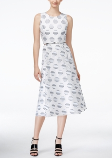 Calvin Klein Belted Polka-Dot Midi Dress