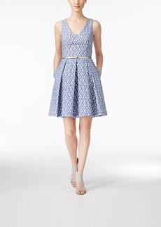 Calvin Klein Belted Printed Fit & Flare Dress