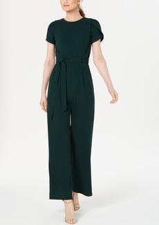 Calvin Klein Belted Puff-Sleeve Jumpsuit
