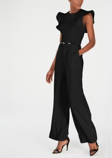 Calvin Klein Belted Ruffle-Sleeve Jumpsuit