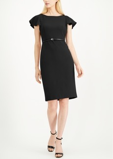 Calvin Klein Belted Ruffle-Sleeve Sheath Dress