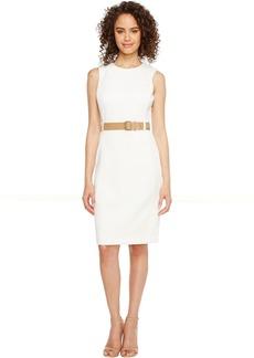 Calvin Klein Belted Scuba Sheath Dress