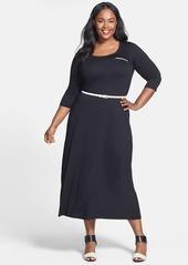 Calvin Klein Belted Stretch Knit Maxi Dress (Plus Size)