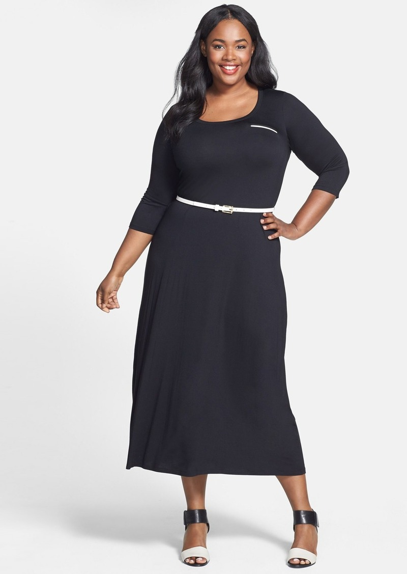 Calvin Klein Belted Stretch Knit Maxi Dress (Plus Size)