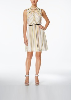 Calvin Klein Belted Striped A-Line Dress