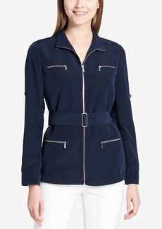 Calvin Klein Belted Zip-Pocket Blouse