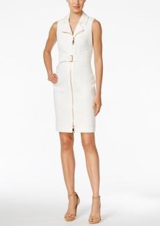 Calvin Klein Belted Zipper Ponte Dress
